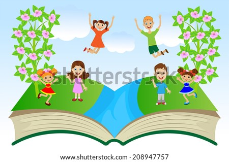 open book with children and summer landscape, vector illustration - stock vector