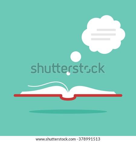 Open book with dialog bubble. Modern flat style. Vector icon - stock vector