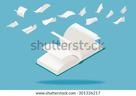 Open book with flying white pages, in isometric perspective. - stock vector