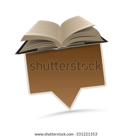 open book with paper pointer  - stock vector