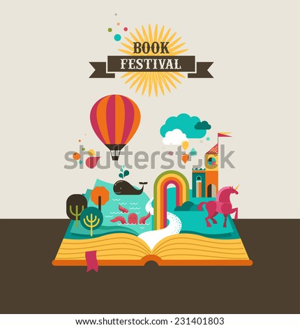 Open Book with set of vector fairy tale elements, icons and illustrations, book cover template design, book festival poster - stock vector