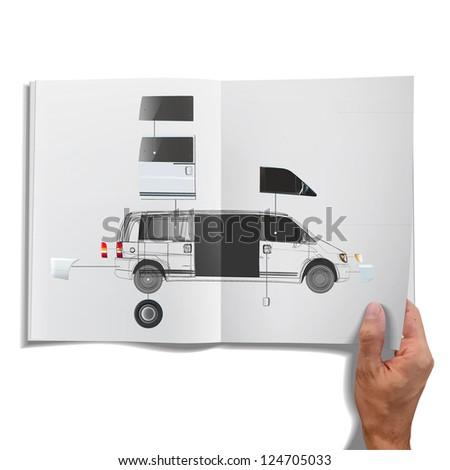 Open book with van inside. Vector design. - stock vector