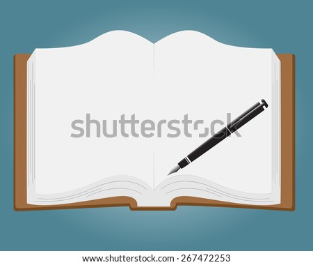 Open book with white pages and pen.Vector Illustration - stock vector