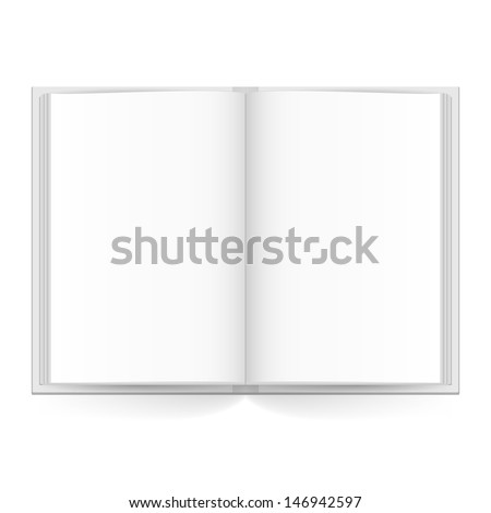 Open book with white pages. Illustration on white - stock vector