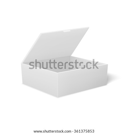 Open box made of cardboard, for food or gifts. Vector box for your design. - stock vector