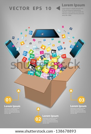 Open box with cloud of colorful application icon, Business software and social media networking service concept, Vector illustration modern template design - stock vector