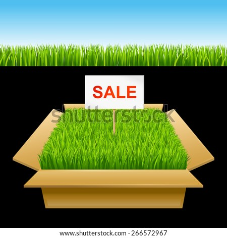 Open box with green grass. Sale 10eps - stock vector