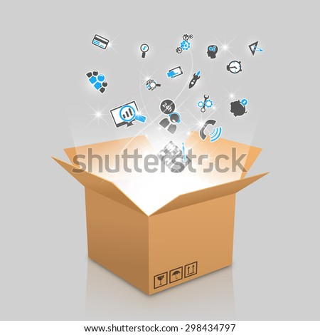 open box with the outgoing light and web icons - stock vector