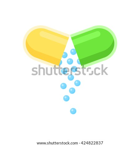 Open capsule pill sign, small balls pouring drug medical. Vector illustration icon isolated on white background. - stock vector