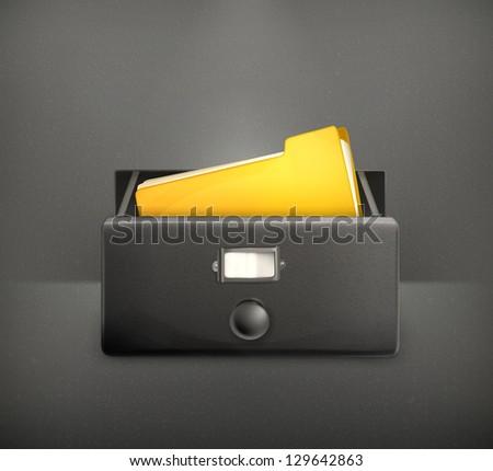 Open card catalog, vector black - stock vector