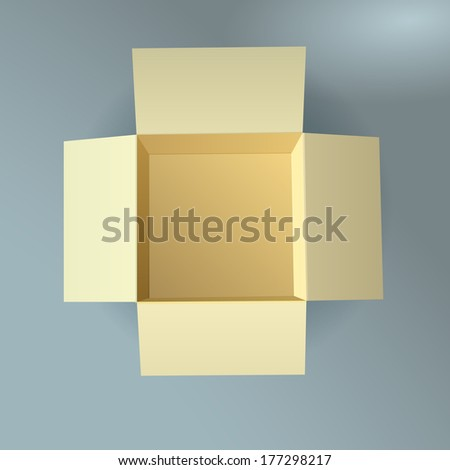 Open cardboard box, corrugated, top view with soft shadow - stock vector