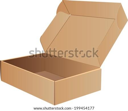 Open Cardboard Box- Vector - stock vector