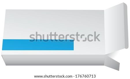 Open cardboard packaging for tablets. Vector illustration. - stock vector
