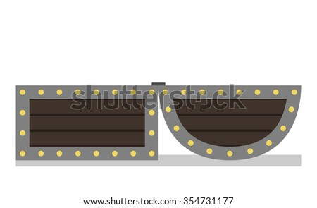 Open chest isolated on white background. Side view. EPS 8 vector illustration, no transparency - stock vector