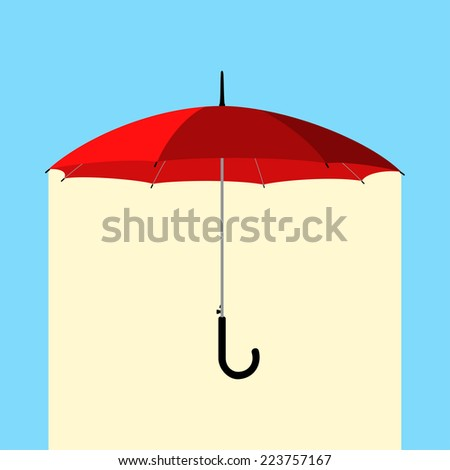open classic red umbrella stick under rain - stock vector