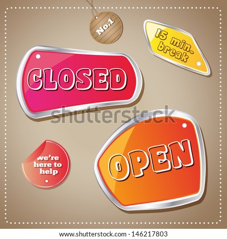 Open Closed Colorful Vector Badge Set - stock vector