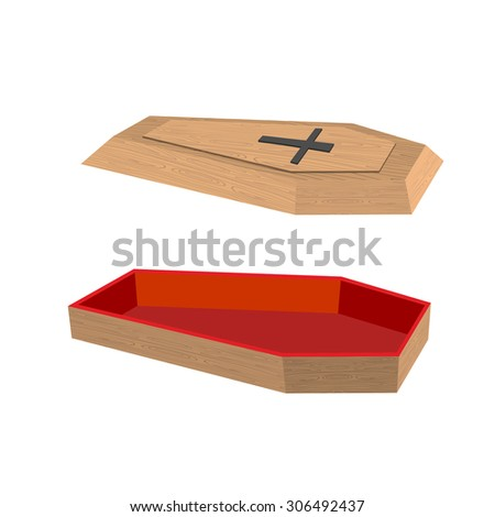 Open coffin on a white background. Lid of a coffin with a cross. Wooden coffin with red trim inside. Vector illustration - stock vector