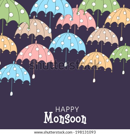 open colorful umbrellas on purple background for happy monsoon season