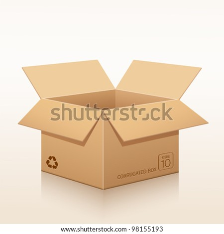 Open corrugated box recycle. vector illustration - stock vector