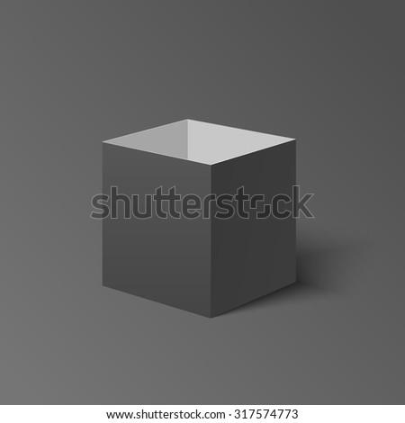 Open dark isolated isometric box. Open isometric cardboard box. Open isometric transportation box. Delivery isometric box. Gift isometric box. Parcel isometric box. Black isometric cardboard box. Ship - stock vector