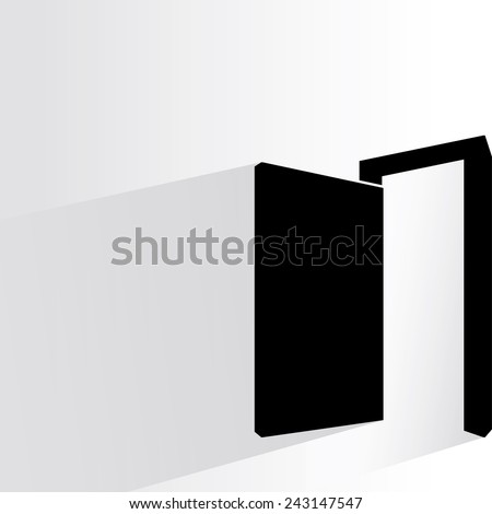 open door on white background, flat and shadow theme - stock vector
