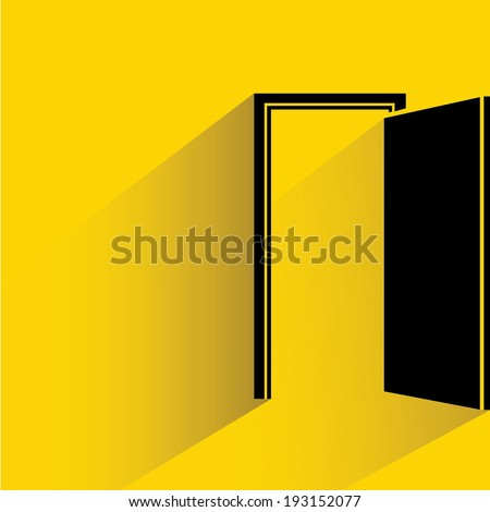 open door, opportunity concept, goal, target - stock vector