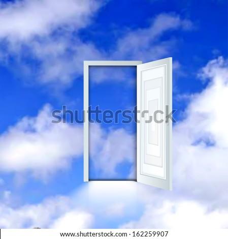 Open door to the sky. Vector - stock vector