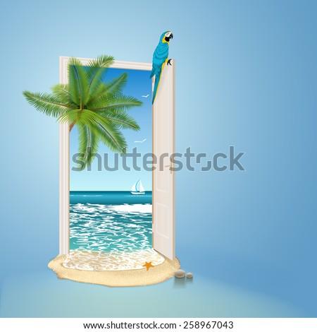 Open door to tropic island - stock vector