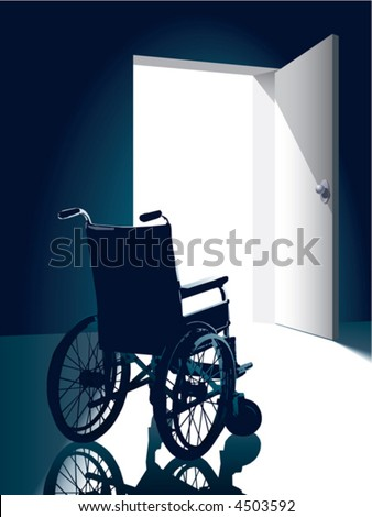 Open door with an empty wheel chair - stock vector