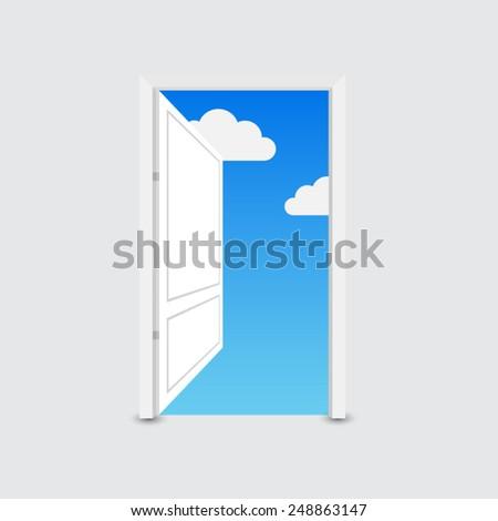 open door with sky - stock vector