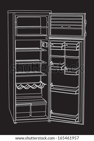 Open drink refrigerator vector isolated on black background.  Vertical empty fridge illustration in white lines.  - stock vector