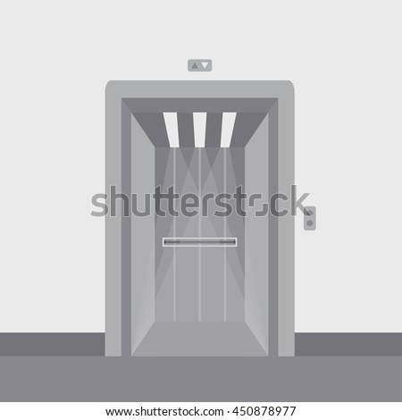 Open elevator doors modern metal realistic empty hall interior with waiting lift grey floor ceiling and walls vector - stock vector