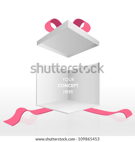 Open empty gift box and red ribbons. Vector design isolated on white. - stock vector