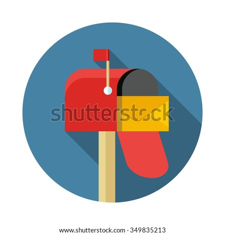 open empty mailbox flat design vector icon - stock vector