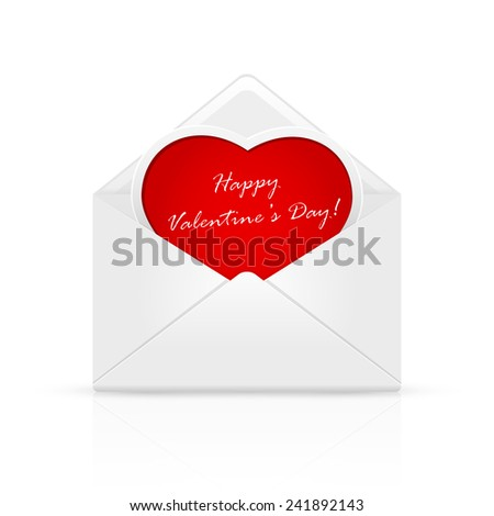 Open envelope mail with Valentines congratulation on red heart, illustration. - stock vector