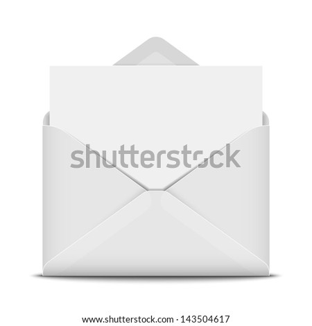Open envelope with blank paper - stock vector