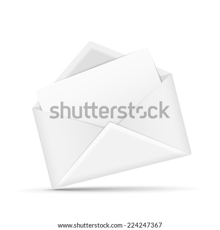 open envelope with letter isolated on white - stock vector