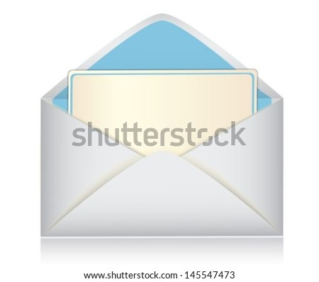 open envelope with paper-card on white background - stock vector