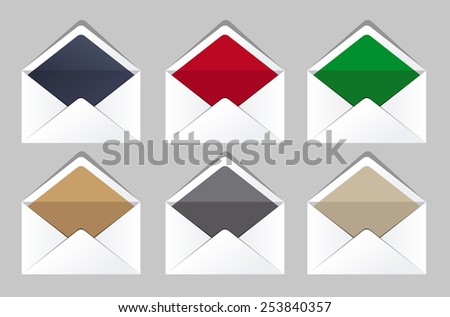 Open envelopes set. Corporate templates. Business office - stock vector