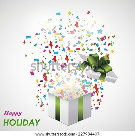 Open explore gift with fly confetti - stock vector