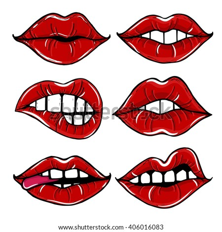 Open female mouth with red lips isolated on a white background. - stock vector