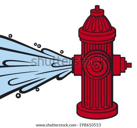 open fire hydrant  - stock vector
