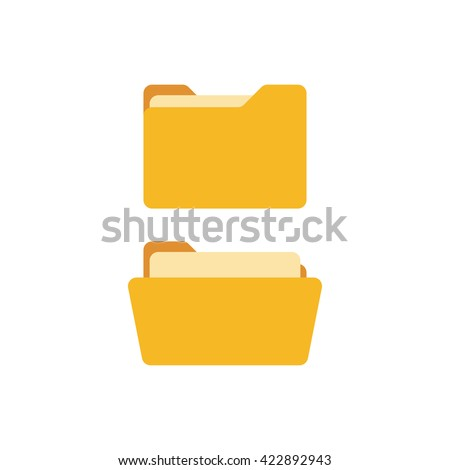 Open folder and close folder with documents. Folders icons isolated on white background. Folders set - stock vector