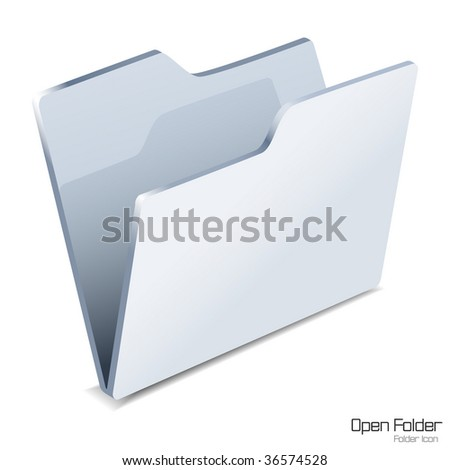 Open folder icon isolated. Vector illustration. - stock vector