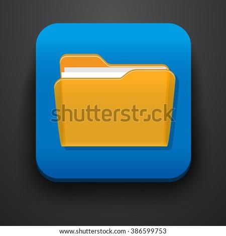 Open folder symbol icon on blue - stock vector
