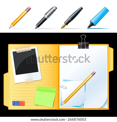 Open folder with paper, pencil and photo - stock vector
