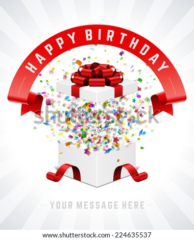 Open gift box and with red bow and ribbon vector background. Happy birthday message. - stock vector