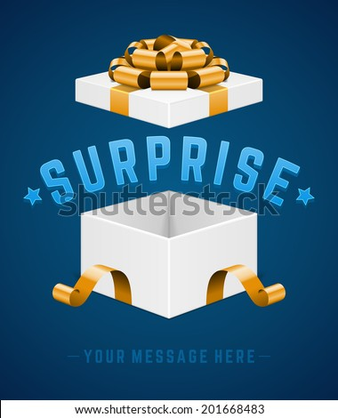 Open gift box and with red bow and ribbon vector background. Surprise message.  - stock vector