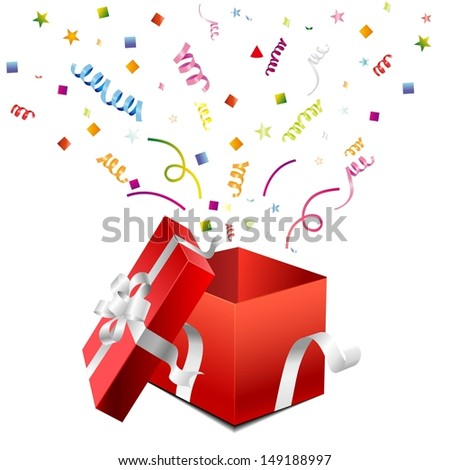 open gift box on a white  - stock vector