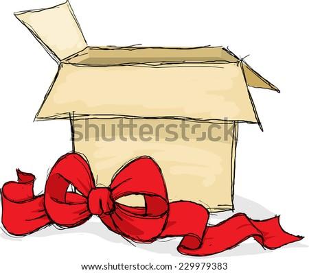 open gift box - vector illustration - stock vector